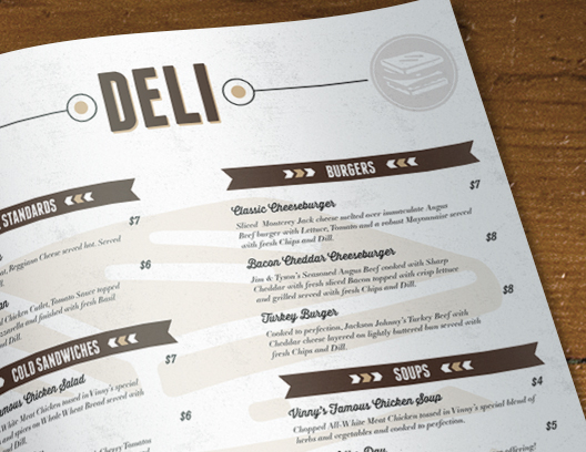 Vinny\'s Cafe & Deli Menu - Nate Smith Design